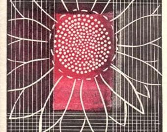 Linocut Art Card - Full Bloom