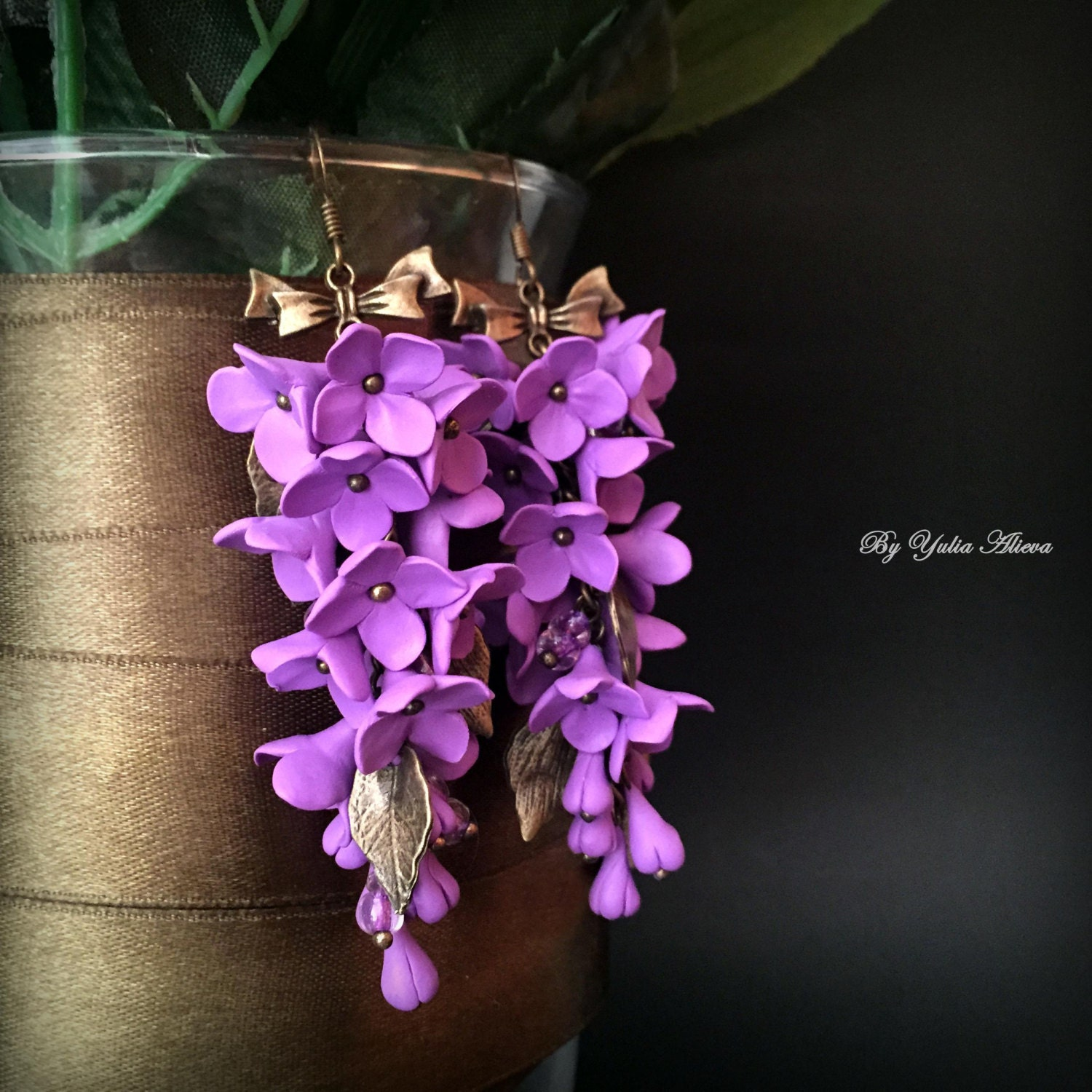 earrings tiny friend p hippie il boho dried jewelry fullxfull purple flower terrarium