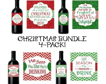 Christmas Bundle - 4 Designs!! Christmas Wine Label, Custom Christmas Wine Label, Christmas Wine, INSTANT DOWNLOAD DIY