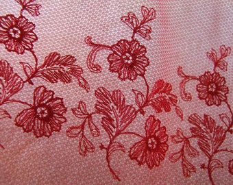 Red embroidered tulle
