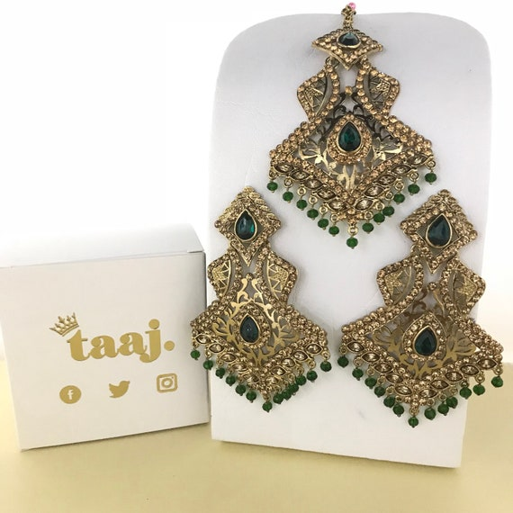 Sangli Gold & green bead zirconia earrings and tilla Indian Bridal Pakistani style