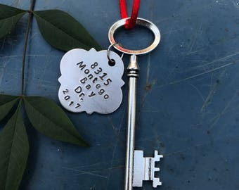 New home ornament, Skeleton Key ornament, First Christmas, Personalized housewarming gift, first home ornament, wedding gift