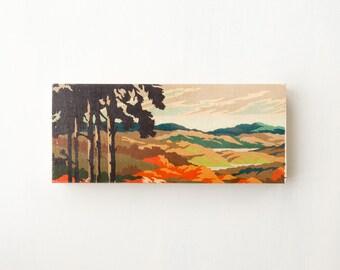 """Paint by Number Large Art Block -  6"""" x 14"""" 'Sunset Hills', vintage landscape art reproduction"""