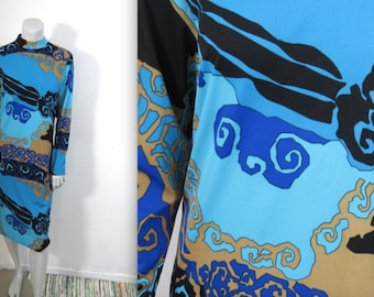 Fabulous Vintage 1960s Psychedelic Ruth Walter Pucci Print Dress M L