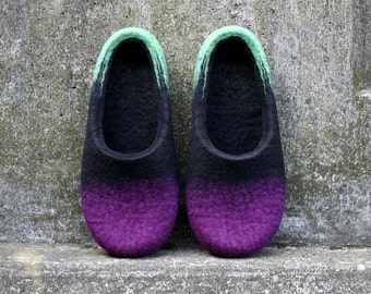 "Sleepless Dreams""  three coloured felted wool slippers handmade to order"
