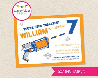 Nerf Gun (inspired) Birthday Invitation, Nerf Gun Birthday, Nerf Gun Printables, Nerf Gun Birthday Decorations, Lauren Haddox Designs