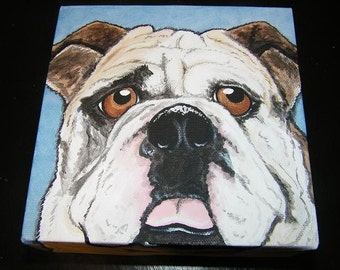 Custom Pet Portrait Painting 8x8 pet memorial, pet loss, dog, cat