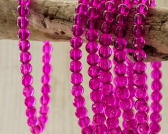 6mm Czech Glass Magenta Druk Beads, 4324, Magenta 6mm Smooth Round Beads, 30 Beads - Fuchsia Druk Beads