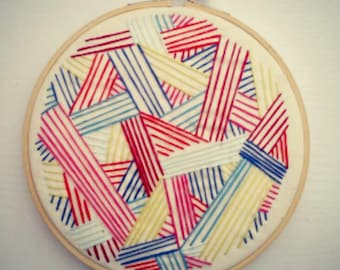Blue, Red, Pink and Green Lines Geometric Embroidery, Hoop Art, Embroidery Art, Hand-Stitched Embroidery, Abstract, 6in Hoop