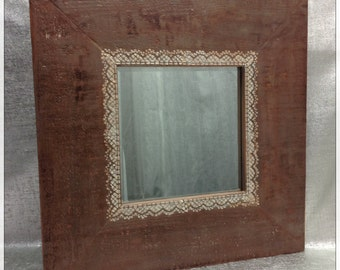 Rustic Decor/Modern Mirror/Cedar Wood Mirror/20x20 Framed Mirror/Bathroom Mirror/Home Decor/Cedar and Lace Mirror/Antiqued Mirror/Pearl Lace