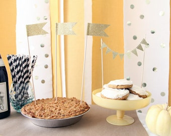 """Large Gold Glitter Cake flag toppers 12"""" tall"""