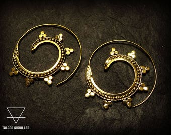 Boucles d'oreille laiton # spirale # spiral brass earrings # indian earrings 3-20
