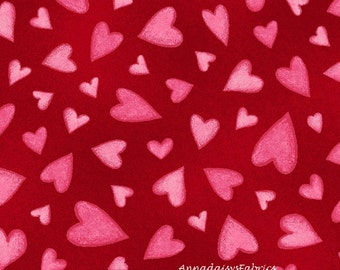 Pink Heart Fabric, Henry Glass Key To My Heart HEG9885-88, Valentines Day Fabric, Pink and Red Valentine Fabric, Cotton Quilt Fabric