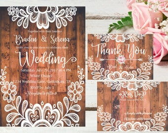 Rustic Wood and Lace  Wedding Invitations, Wedding Invites, Printable Wedding Invitation,Customized Wedding Invitations,Download