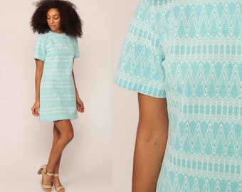 60s Mini Dress Mod Shift Striped Zig Zag 1960s Twiggy Vintage Short Sleeve Sixties Minidress Blue Large