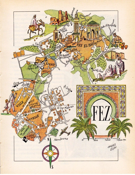 old map of Fes Fez Morocco from the1950s by French