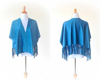 One Size Fringed Suede Cloth Wrap in Chic French Blue~ ruana shawl gypsy boho chic kimono cape handmade clothing sweater jacket wearable art