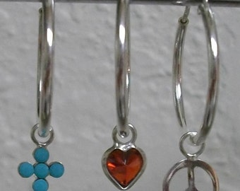 Interchangeable Sterling Silver Earrings with 3 sets of Drops
