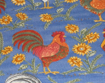 Marseille Denim Look With Chickens and Sunflowers.