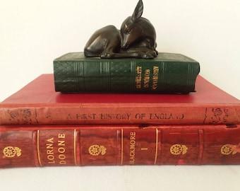 Doe Figurine Sitting on Miniature Book of Aristotle's Works Illustrated Art Deco Piece 1920s-30s