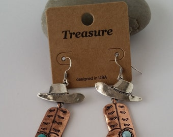 Earrings cowboy hat, cowboy boot, turquoise colored bead .Cowboy Style Earrings,