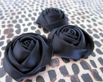 Black Roses, Ribbon Roses, Flower Cabochons, Scrapbooking Roses, Black Satin Ribbon Flowers, DIY Craft Flowers - Black or Pink 1.25 Inches