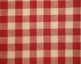 Check Fabric | Large Check Fabric | Homespun Fabric | Large Red Check Fabric | Farmhouse Fabric | Cotton Quilt Fabric | Primitive Fabric