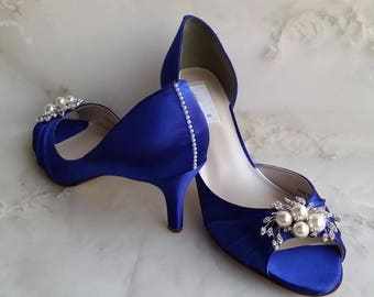 Blue Wedding Shoes Blue Bridal Shoes with Pearls and Crystals  or PICK FROM 100 COLORS Bridesmaid Shoes Royal Blue Wedding Shoes Cobalt Blue