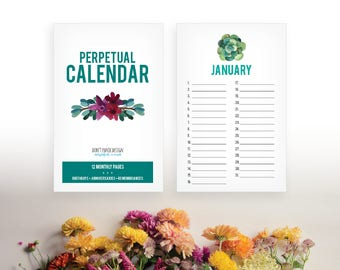 Printable Succulent Perpetual Calendar - Birthday Calendar - Anniversary Calendar - Colorful Eternal Planner - Instant Download PDF
