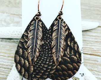 Brown leather with copper shimmer paired with copper feather and artisan ear wires.