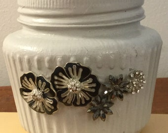 Jewelled pot, storage, make up brushes, cotton buds, hair grips etc