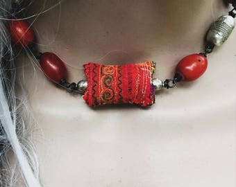 Boho bead necklace | Hmong textile, African orange resin beads, tribal necklace, Hmong jewelry, boho necklace, ethnic necklace, silver beads
