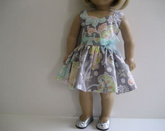 18 Inch Doll Clothes  - Gray Paisley Dress made to fit dolls such as the American Girl and Maplelea doll clothes