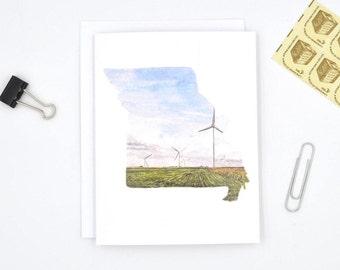 Missouri Greeting Card - Missouri State Art - Watercolor Notecards - Blank Notecards - Missouri Gift - Missouri Wedding - Stocking Stuffer