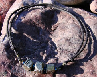 Raw Pyrite Crystal Bar Necklace: Natural Healing Iron Pyrite, Fools Gold Wire Wrapped with Brass Wire, Bib, Handmade, Hypoallergenic Jewelry