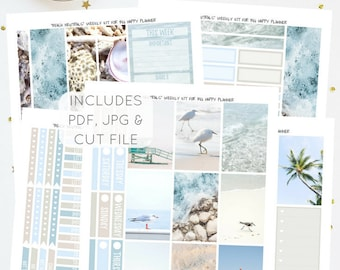 Beach Neutrals - Printable Weekly Kit for Big Happy Planner   Planner Stickers   Instant Download   PDF & JPG   Includes Cut File
