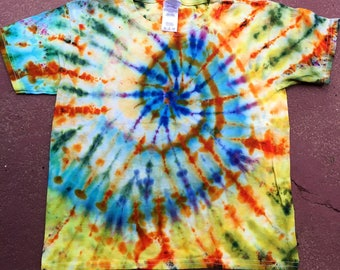 Ice Dye Youth XS T-shirt Spiral Design Hippy One of a Kind Colorful
