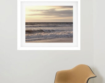 Large framed art coastal photography beach framed print, grey tan ocean wave, matted and framed picture nautical wall decor framed artwork