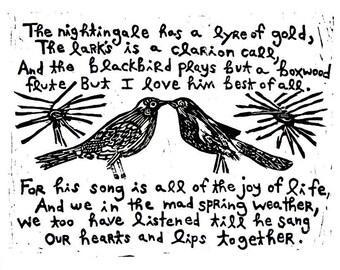 "blackbirds linoleum block print - 11"" x 14"" wall art"