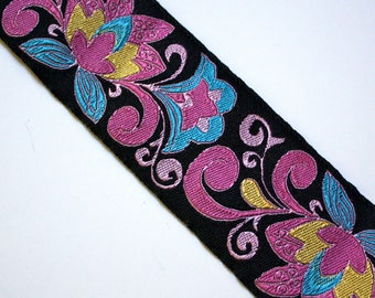 "Cloisonne Design 1 7/8"" x 5/8 of a yard (23"") Black,Blue, Yellow and Pink"