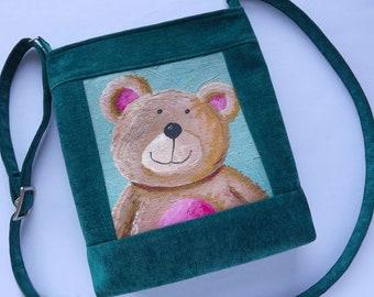Child bag Cute bear Green Top zip Teddy bear Tasche Sac de bébé borsa per bambini Baby girl birthday gift Toddler bag Kids handbag Handmade