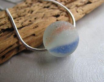 Genuine Sea Glass Orange Blue Marble Pendant-Authentic Sea Glass Marble-Pure Beach Glass Marble-Mothers Day Ocean Gift- Prince Edward Island