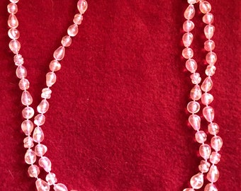 """Vintage Pink Plastic Bead Necklace/44"""" long/6mm/Great Condition#BCEB-899"""