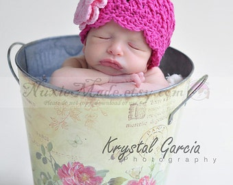 Pink Winter Hat 3-6 Months, Baby Girl Hat, Pink Hat, Hat with Flowers, Flapper Hat, Photo Prop, Crochet Girl Hat, Pink Winter Hat, Baby Hat
