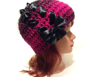 Pink Bow Hat, Kawaii Hat, Corset Ribbon Hat, Lace Up Beanie, Teen Girl Gift, Hat with Bow, Teen Girl, Pink and Black Ombre, Black Bow Hat