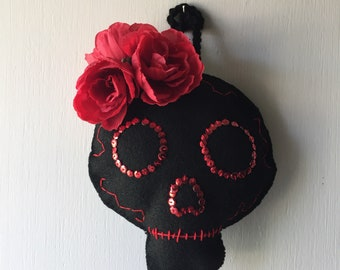 Red Roses -Day of the Dead Skull - Handmade Felt - One of a Kind