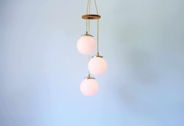 Falling Globes Chandelier 3 White Glass Globe Spiral Pendant