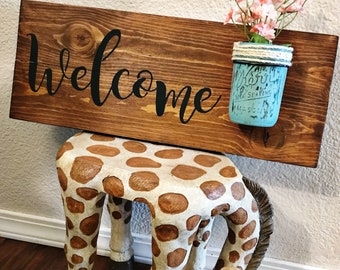 welcome sign, welcome, mason jar, spring flowers
