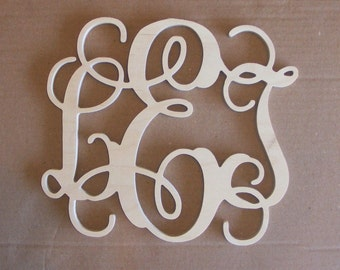 "16"" INCH Large 3 Wooden Vine Connected Monogram Letter, Unfinished,Unpainted"