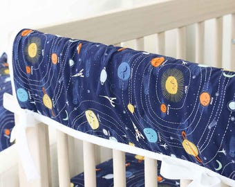 Liam's Universe Crib Rail Cover for Bumperless Bedding | Outer Space, Planets, Navy, White | Baby Boy Teething Guard